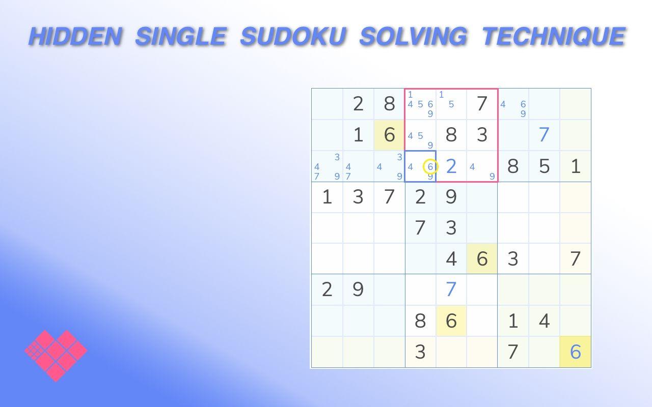 hidden single sudoku example
