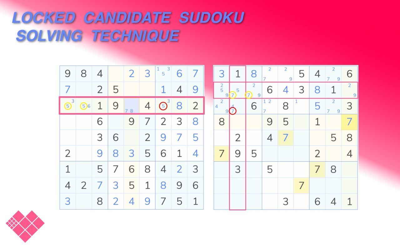 locked Candidates sudoku demonstration