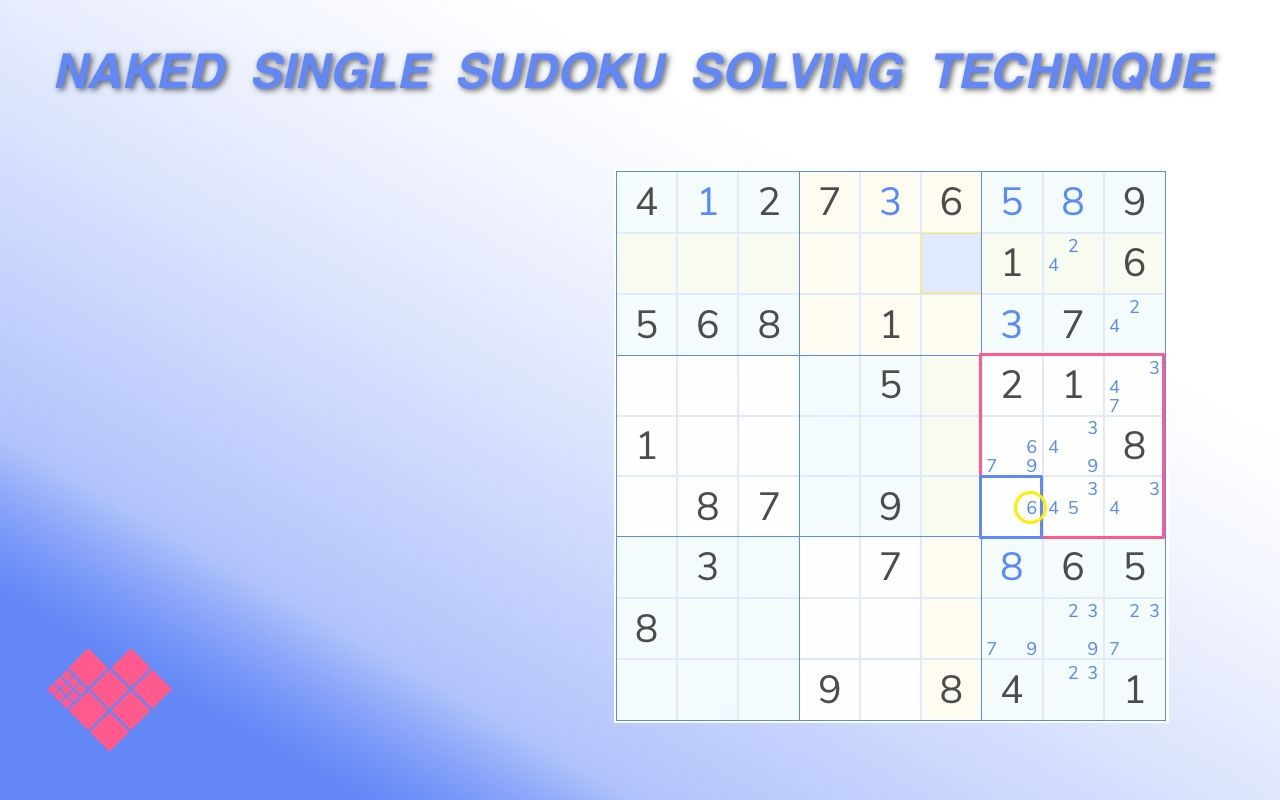 sudoku showing the naked single technique